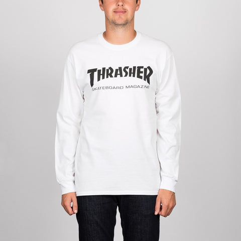 Thrasher Skate Mag Logo Long Sleeve Tee White