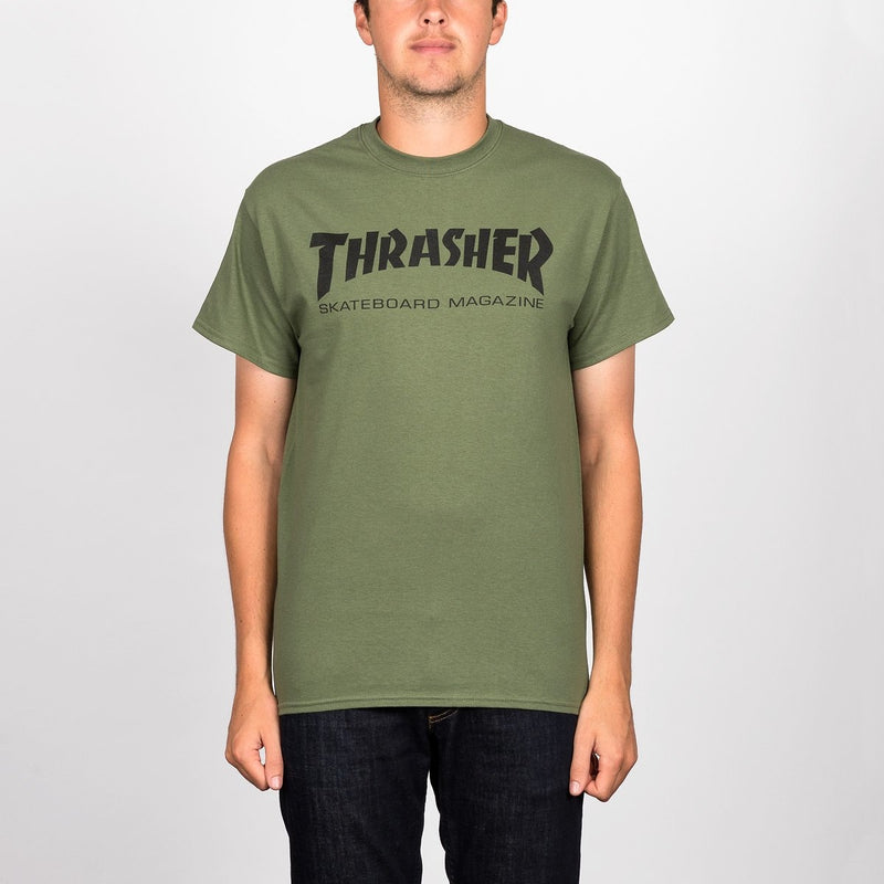Thrasher Skate Mag Logo Tee Army Green - Clothing