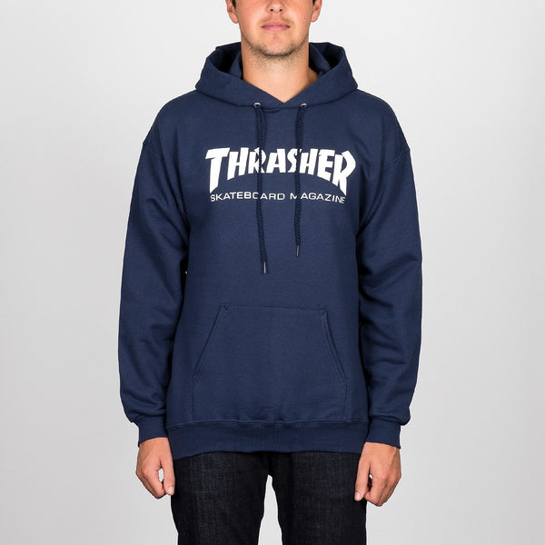 Thrasher Skate Mag Pullover Hood Navy Blue - Clothing