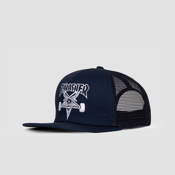 Thrasher Skategoat Embroidered Mesh Cap Navy/White