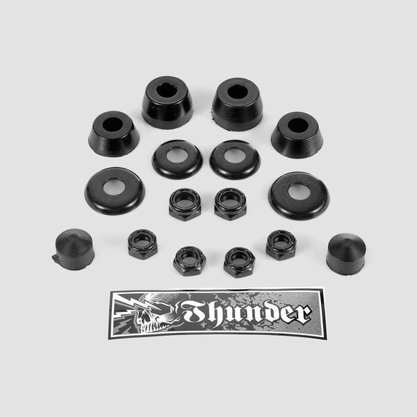 Thunder Rebuild Kit Bushings Washers Axel And Kingpin Nuts Pivot Cup 100 Duro Black x2 - Skateboard
