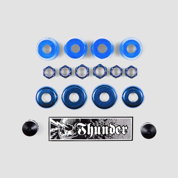 Thunder Rebuild Kit Bushings Washers Axel And Kingpin Nuts Pivot Cup 95 Duro Blue x2 - Skateboard