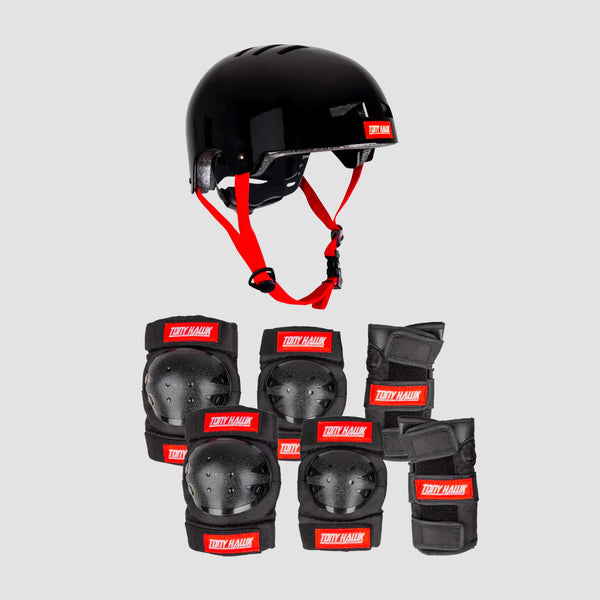 Tony Hawk Protective Set Helmet & Padset Black/Red - Kids