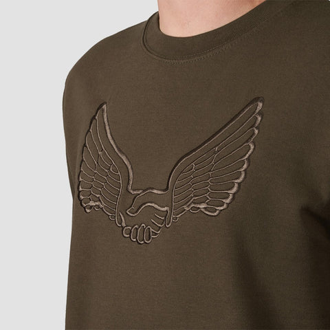 Unabomber Tonal Wings Crew Sweat Olive - Clothing