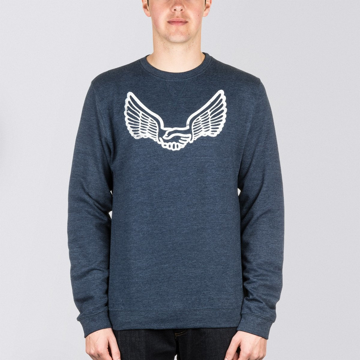 Unabomber Walter Crew Sweat Heather Navy Blue - Clothing