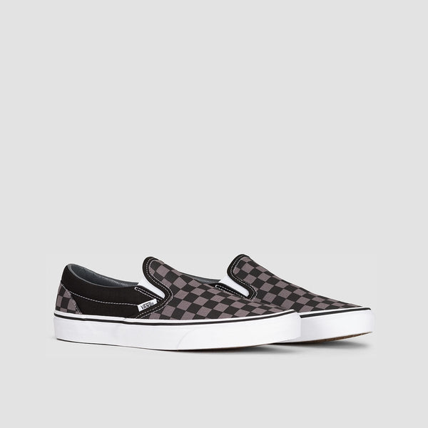 Vans Classic Slip-On Black/Pewter Checkerboard - Unisex L - Footwear