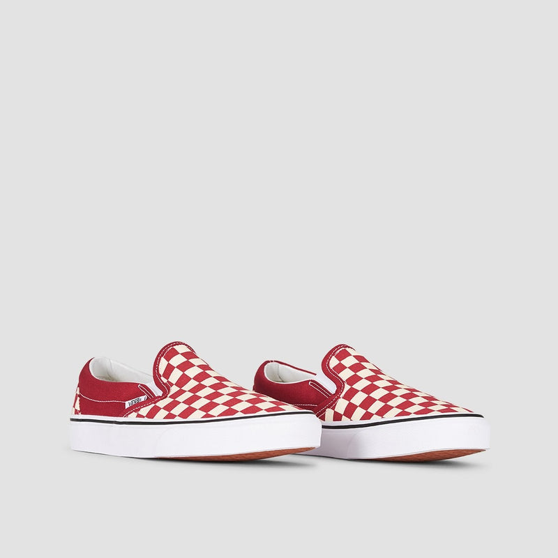 Vans Classic Slip-On Checkerboard Rumba Red/True White - Unisex L - Footwear