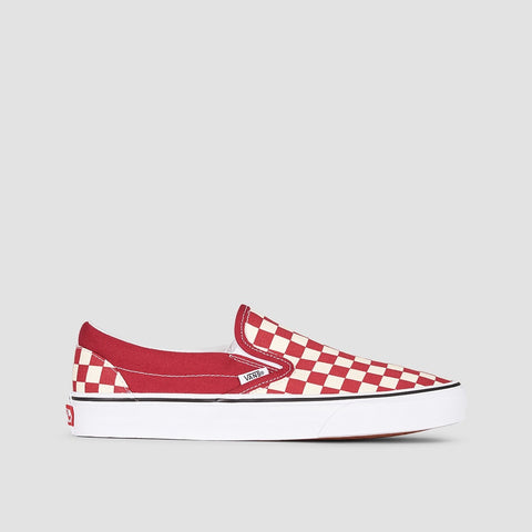 Vans Classic Slip-On Checkerboard Rumba Red/True White - Unisex L
