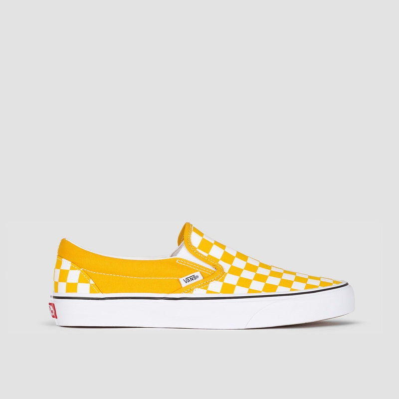 Vans Classic Slip-On Checkerboard Yolk Yellow/True White - Unisex L - Footwear