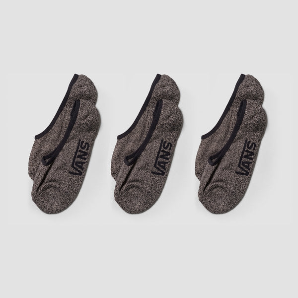 Vans Classic Super No Show Socks 3 Pack Black Heather- Unisex - Accessories