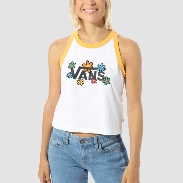 Vans Stacked Floral Tank Vest White/Blazing Orange - Womens
