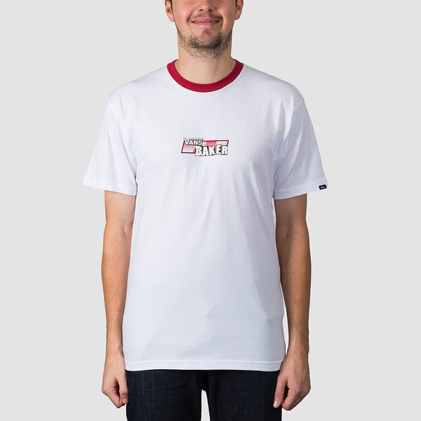 Vans X Baker Speed Check Tee White/Cardinal - Clothing