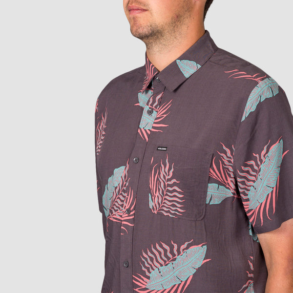 Volcom Bermuda Short Sleeve Shirt Dark Charcoal