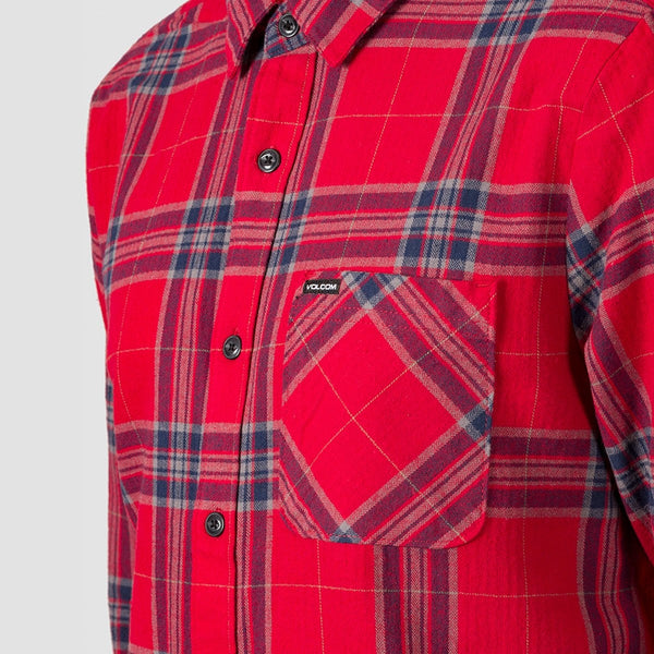 Volcom Caden Plaid Long Sleeve Shirt Engine Red - Clothing