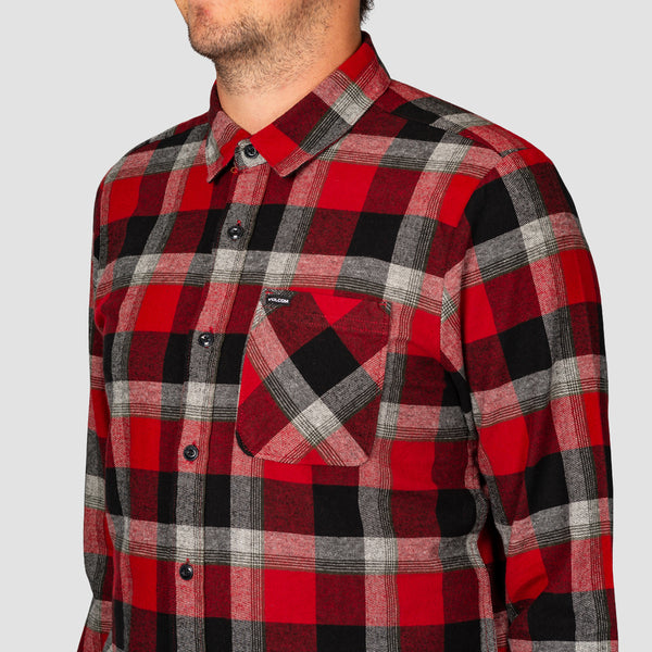 Volcom Caden Plaid Longsleeve Shirt Deep Red