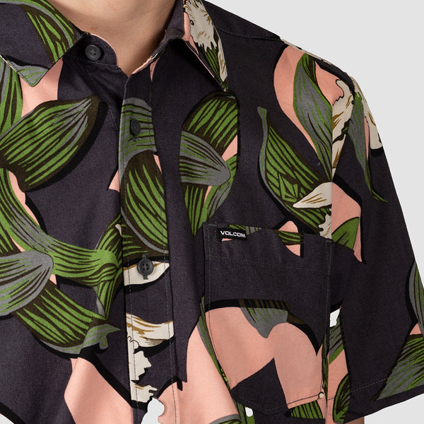 Volcom Cut Out Floral Shirt Dark Charcoal