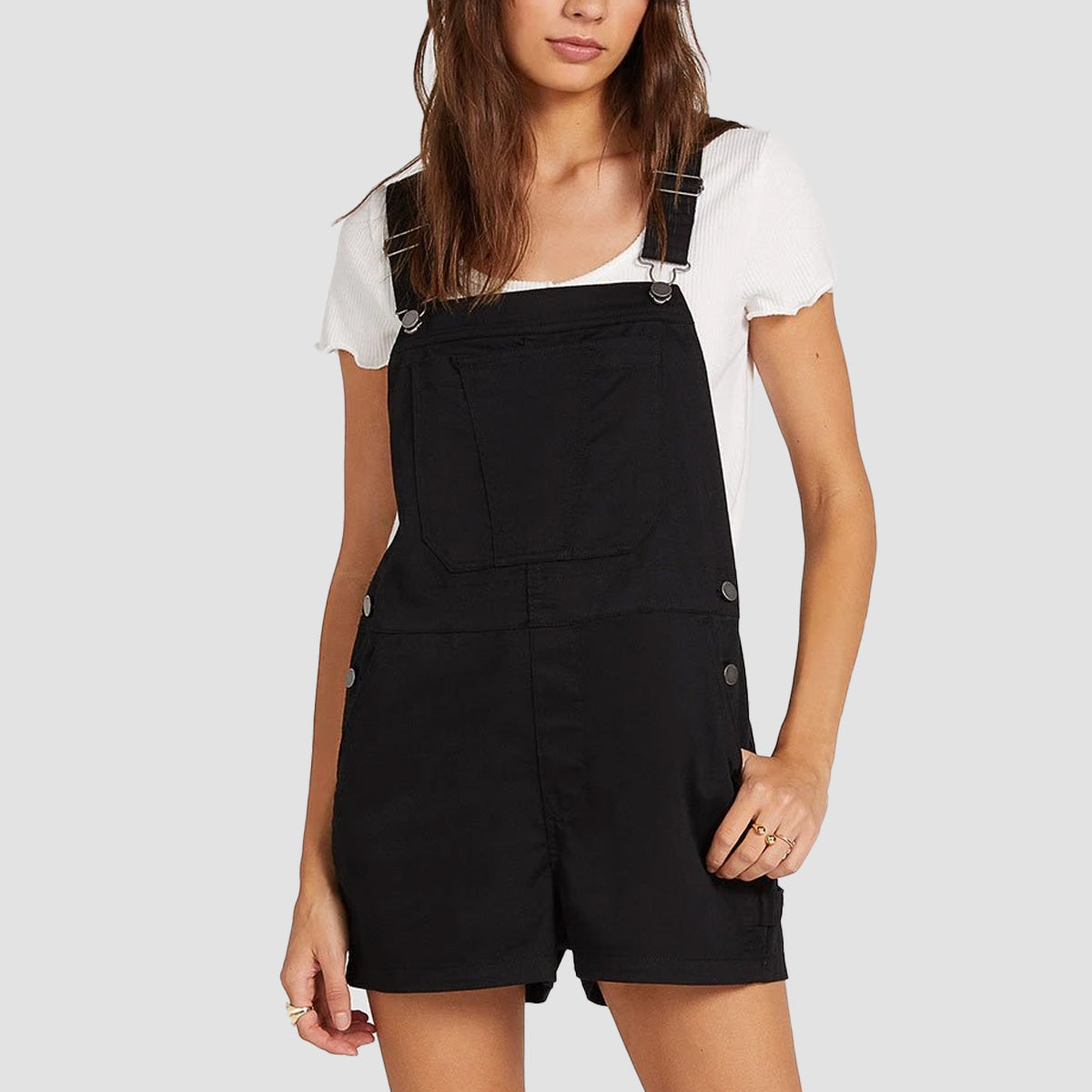 Volcom Frochickie Overall Dungarees Black - Womens