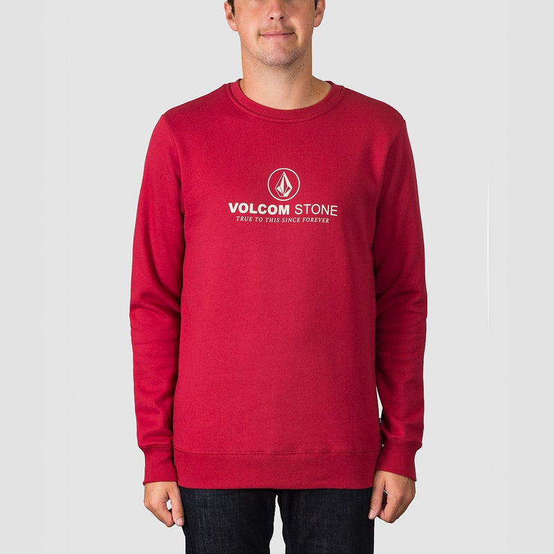 Volcom General Stone Crew Sweat Burgundy Heather - Clothing