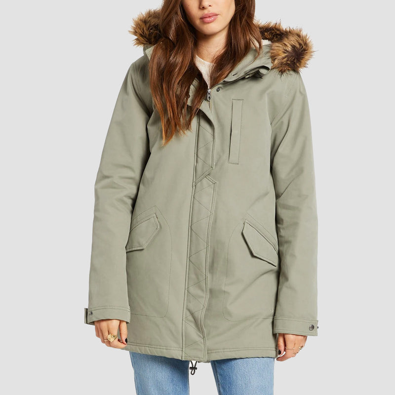 Volcom Less Is More 5K Parka Jacket Green Tea - Womens