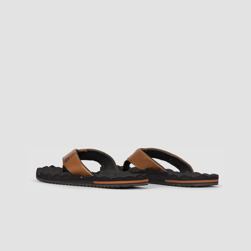 Volcom Recliner Leather Sandals Brown Stone
