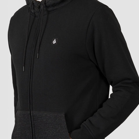 Volcom Single Stone Lined Zip Hood Black - Clothing