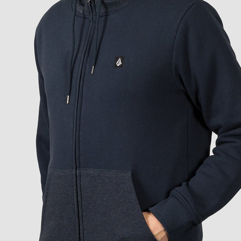 Volcom Single Stone Lined Zip Hood Navy - Clothing