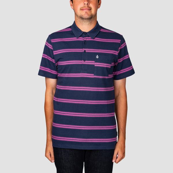 Volcom Smithers Polo Shirt Blue Black