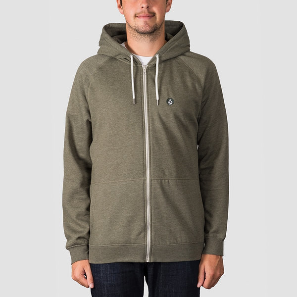 Volcom Timesoft Heather Zip Hood Army - Clothing