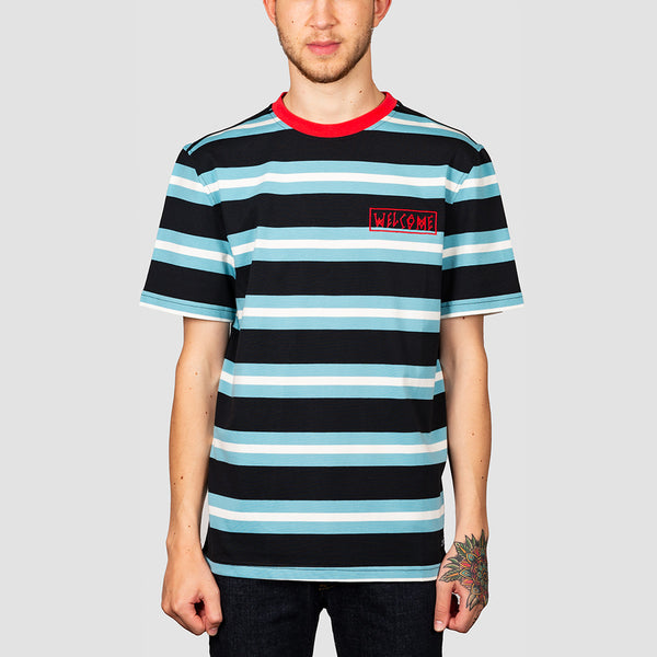 Welcome Medius Stripe Tee Black/Blue
