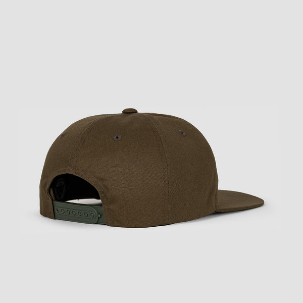 Welcome Smiley Unstructured Snapback Cap Olive