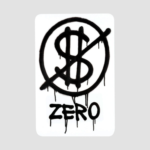 Zero Hardluck Sticker Black 108mm x 70mm - Skateboard