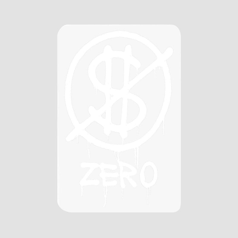Zero Hardluck Sticker White 108mm x 70mm - Skateboard