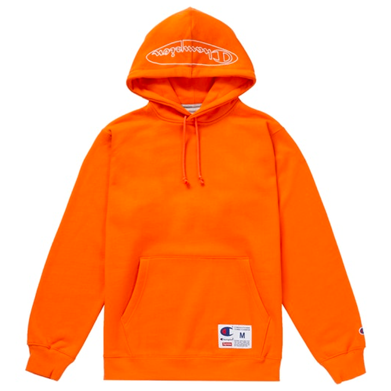 Supreme x Champion Outline Hooded Sweatshirt Orange
