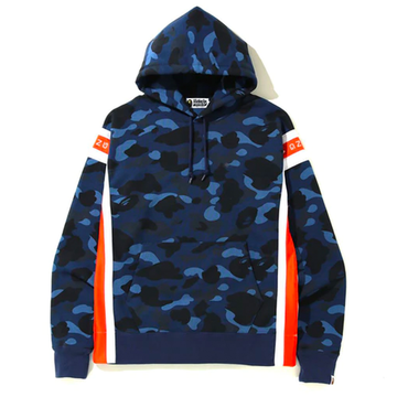 BAPE Color Camo Logo Tape Pullover Hoodie Blue