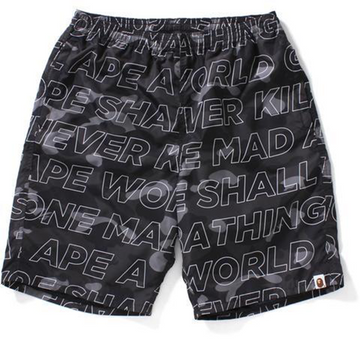 BAPE Text Camo Beach Shorts Black, Bape, Kenshi Toronto