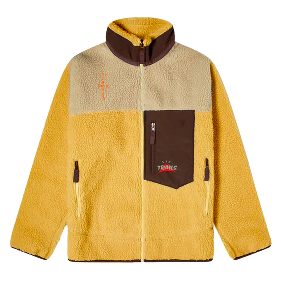Travis Scott Cactus Trails Tri-Color Full-Zip Sherpa Jacket Gold/Natural/Brown