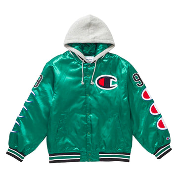 Supreme x Champion Hooded Satin Varsity Jacket Green