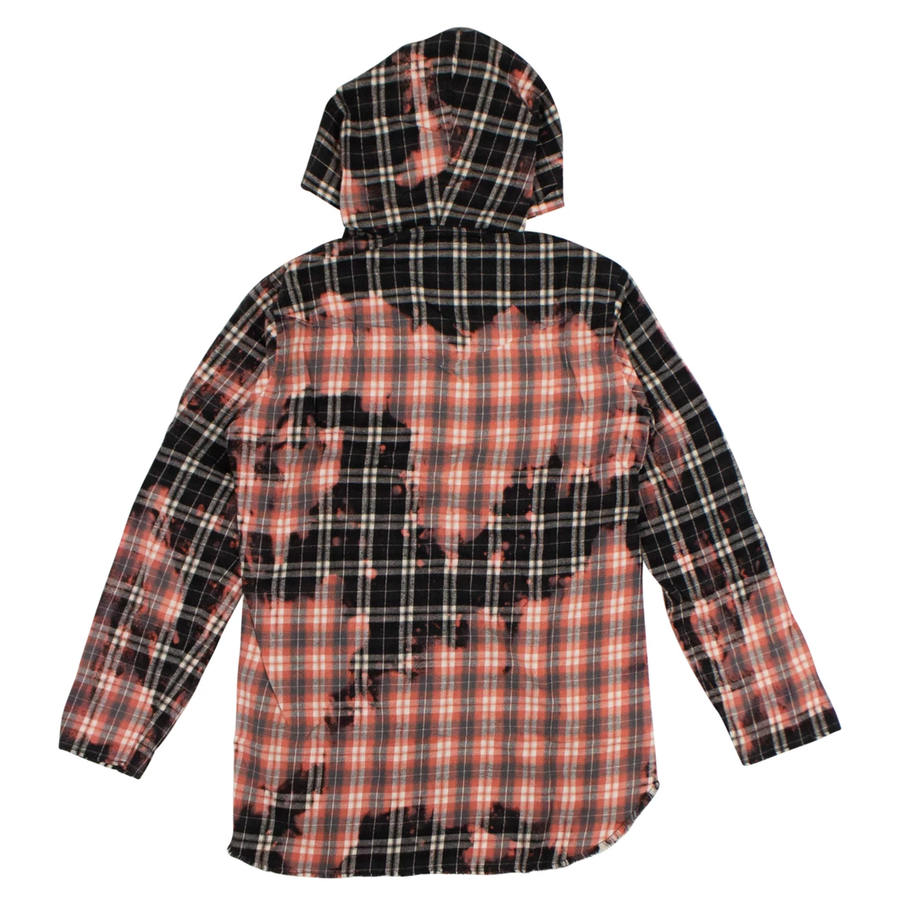 Bleached Black Flannel Hoodie Button Down