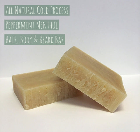 all natural peppermint body and beard soap bar