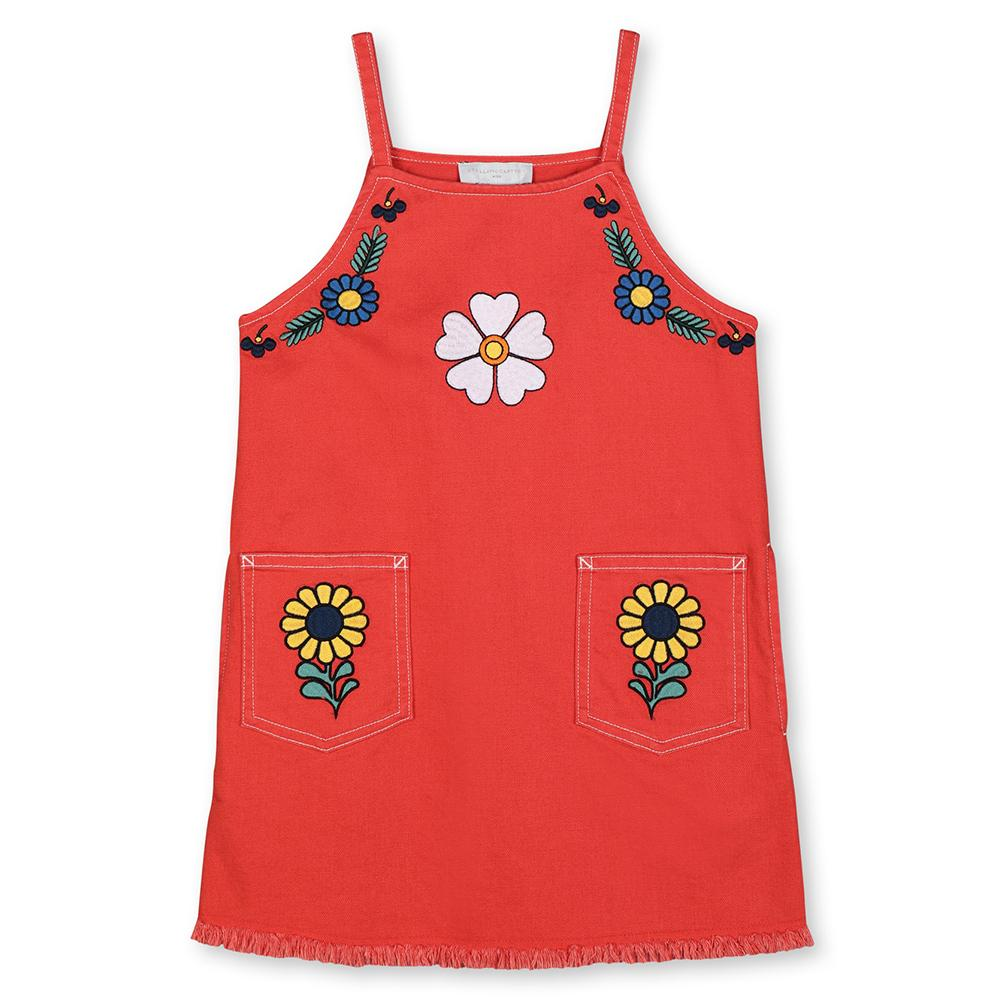 Stella McCartney SS20- Denim Dress W/ Embroidery Flowers