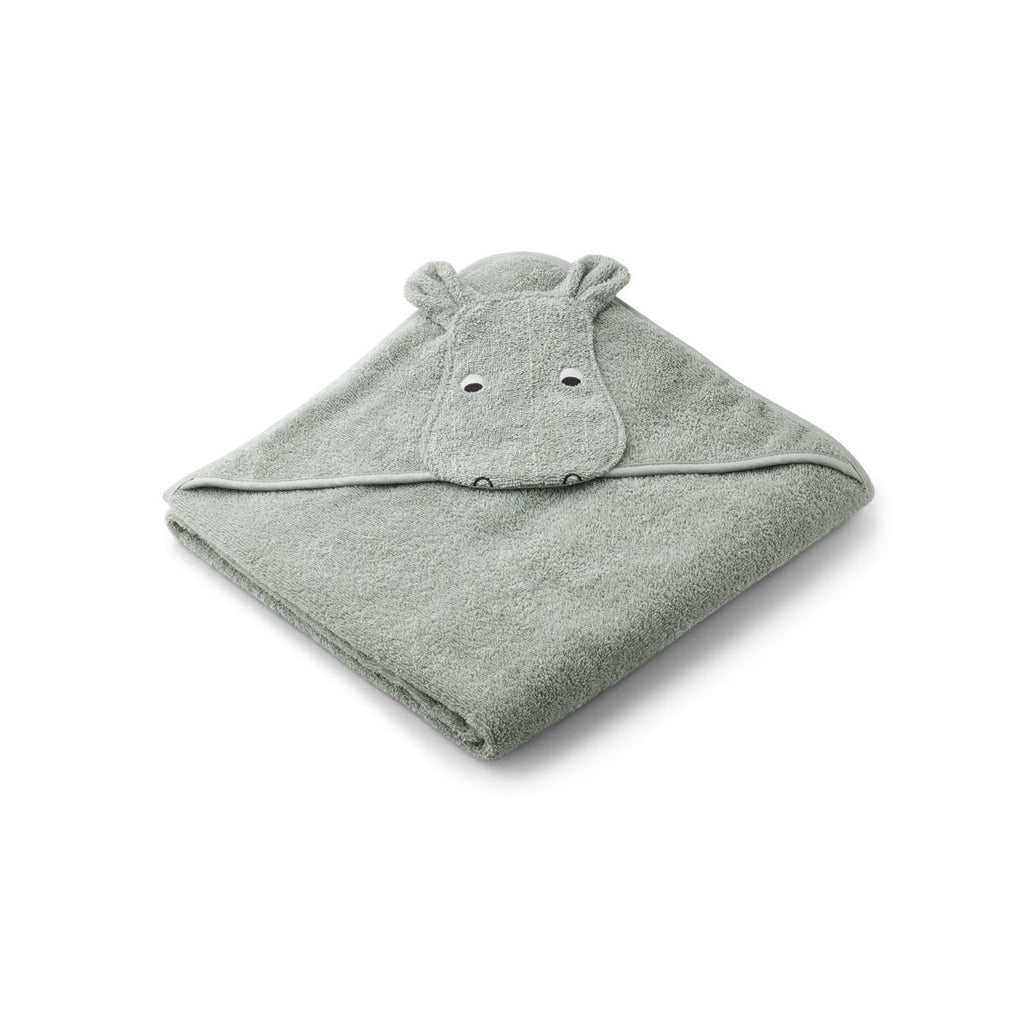 Liewood - Augusta Hippo Dove Blue Hooded Towel