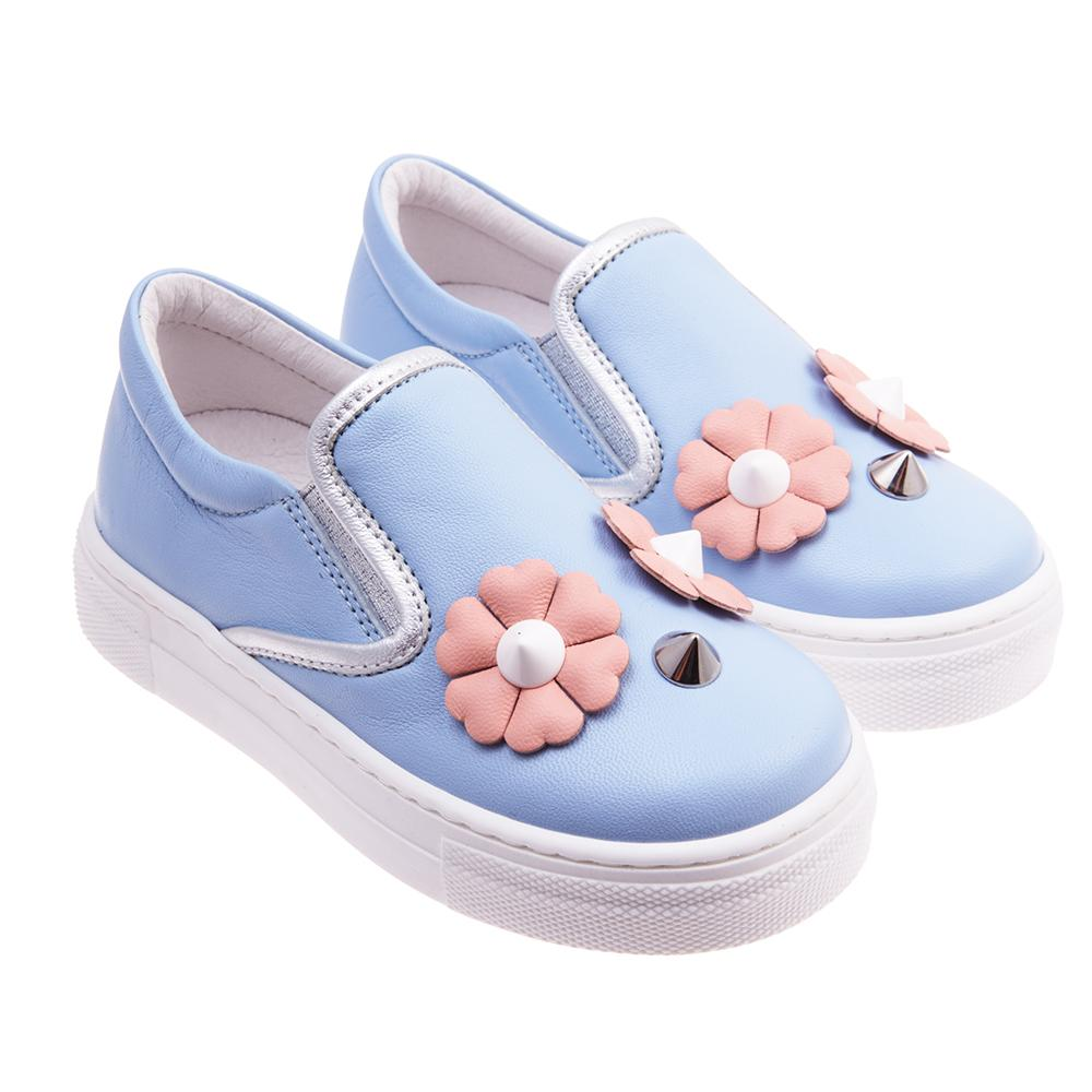 "FENDI - GIRLS ""FLOWER EYES"" SLIP ON LEATHER SHOES"