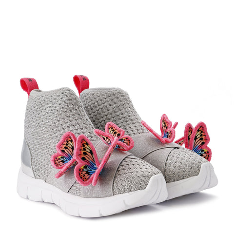 Sophia Webster Mini SS20- Riva High Top Sneaker in Silver & Pink