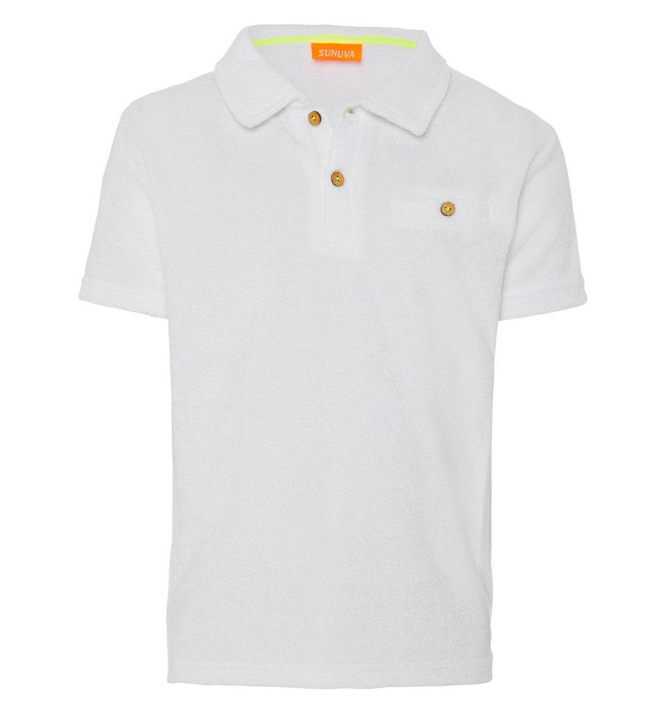 SUNUVA - White Towelling Polo Shirt