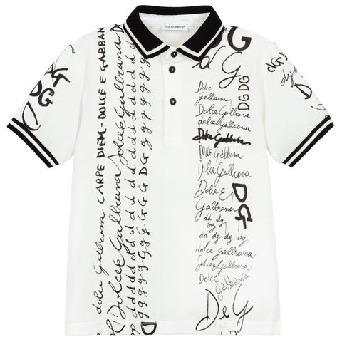 Dolce & Gabbana AW20 - White & Black Logo Polo Shirt
