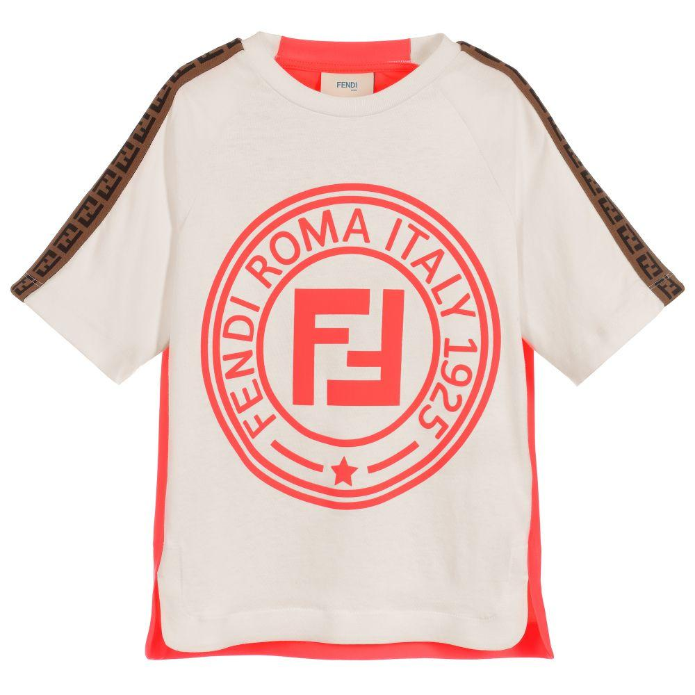 Fendi AW19- T-shirt with Neon Pink FF logo
