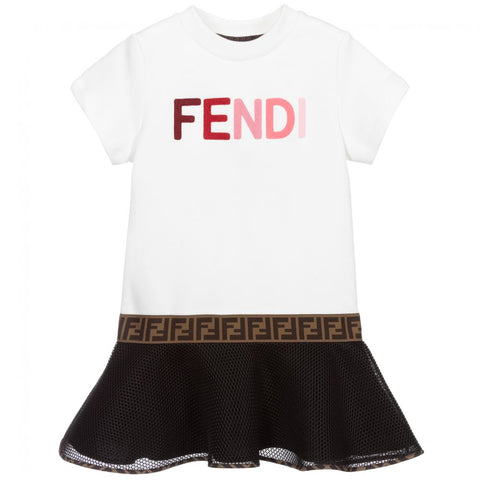 Fendi AW20 - White & Black Logo Dress