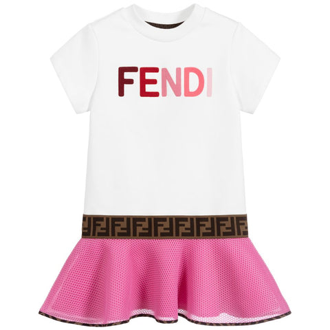 Fendi AW20 - White & Pink Logo Dress