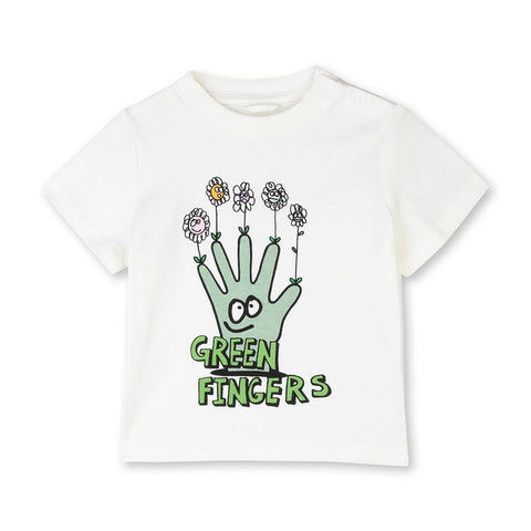 Stella McCartney SS20- Short sleeves Baby T-Shirt W/Green Fingers Print