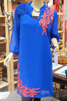 TUNIC - FAUX GEORGETTE - BLUE WITH RED EMBROIDERY - Bali Thai Imports